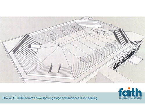 Studio A from above showing stage and audience raked seating