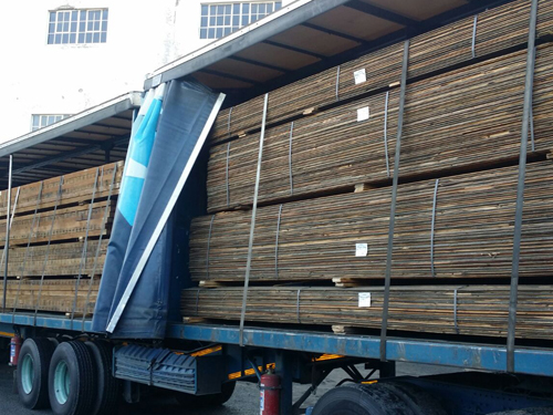The old floorboards packed, stacked and ready for transport to Cape Town