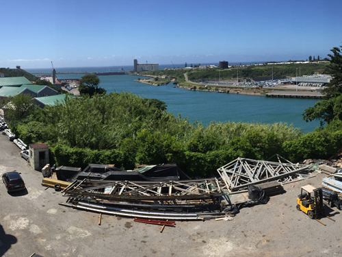 Panoramic view of harbour from top floor of River Park