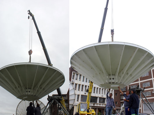 The new satellite dish being installed
